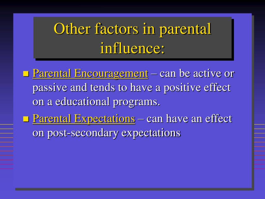 Other factors in parental influence: