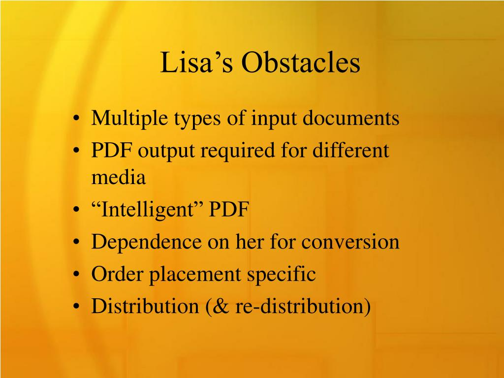 Lisa's Obstacles
