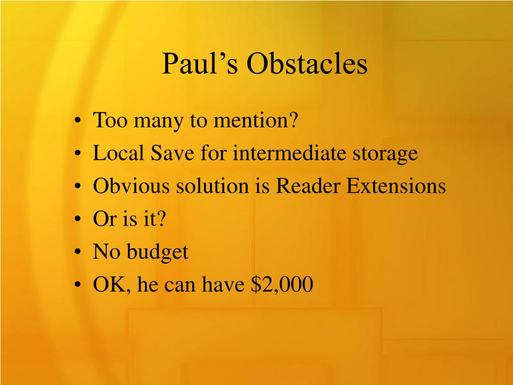 Paul's Obstacles
