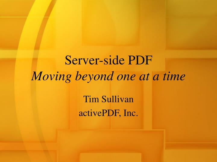 Server side pdf moving beyond one at a time