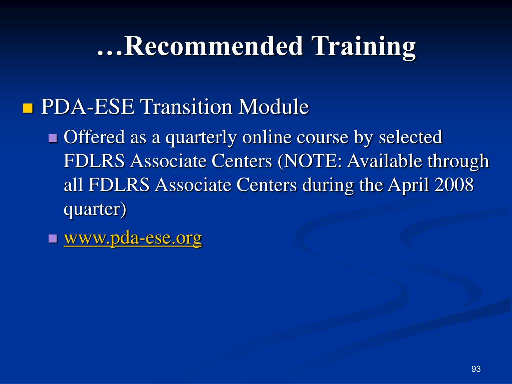 …Recommended Training