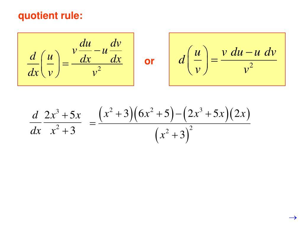 quotient rule: