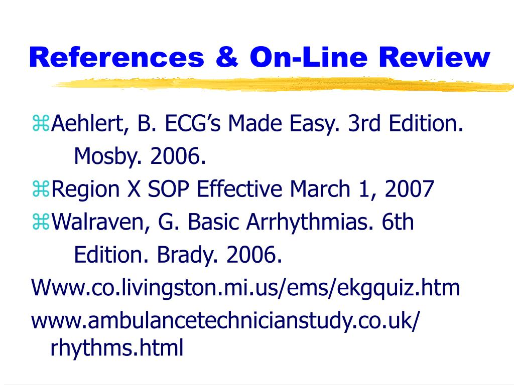References & On-Line Review
