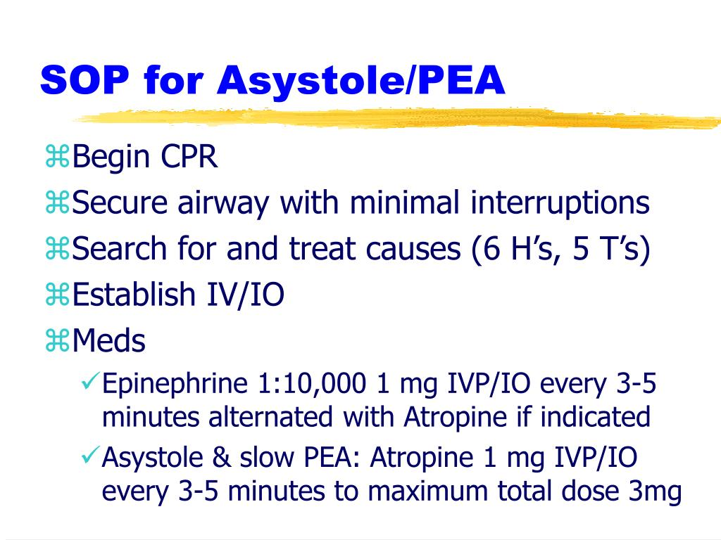SOP for Asystole/PEA