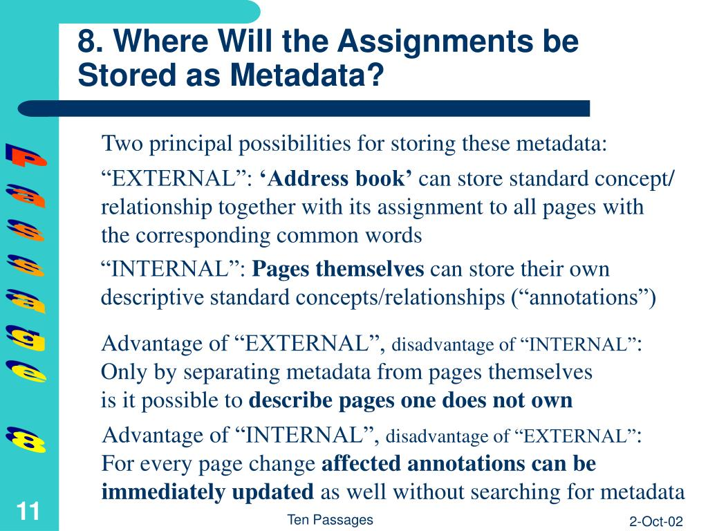 8. Where Will the Assignments be Stored as Metadata?