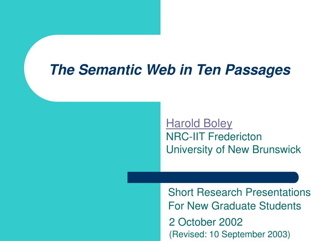 the semantic web in ten passages