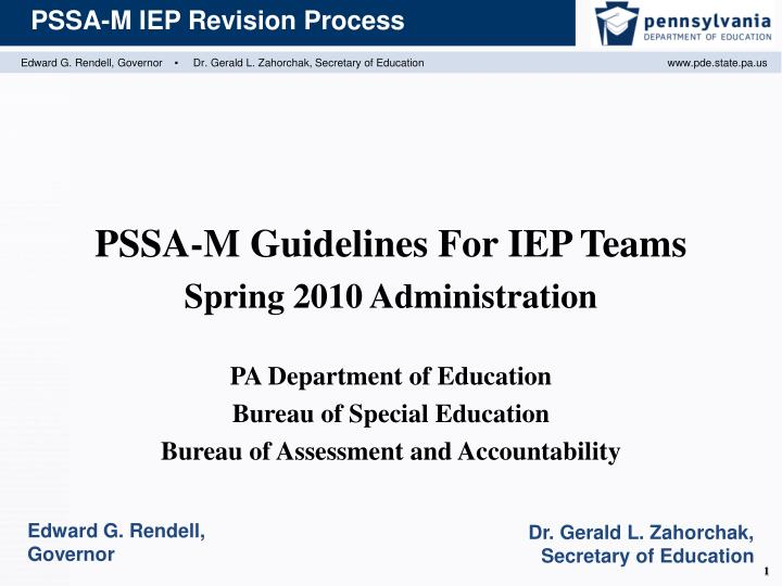 PSSA-M Guidelines For IEP Teams