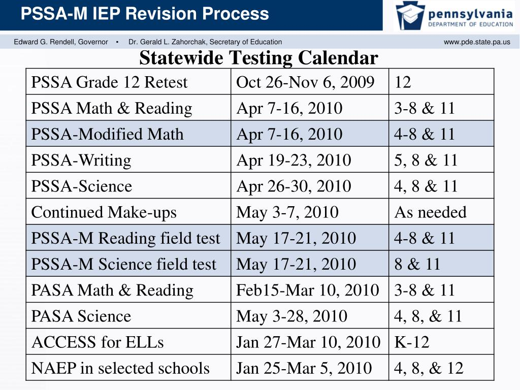 Statewide Testing Calendar
