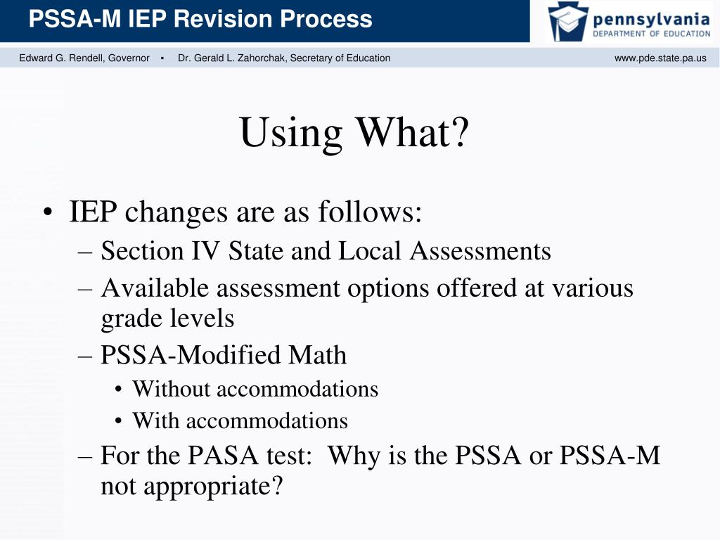 IEP changes are as follows: