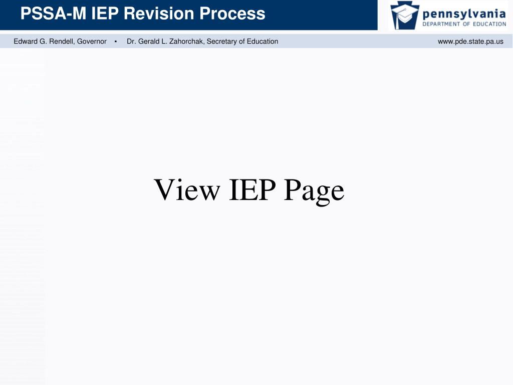 View IEP Page