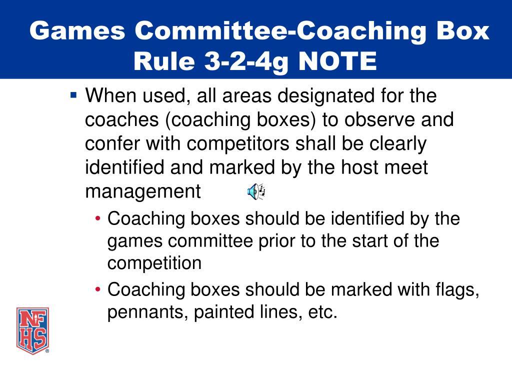 Games Committee-Coaching Box