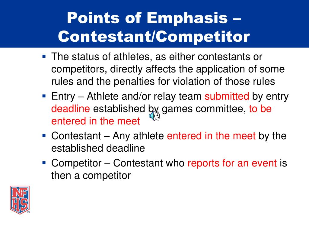 Points of Emphasis –