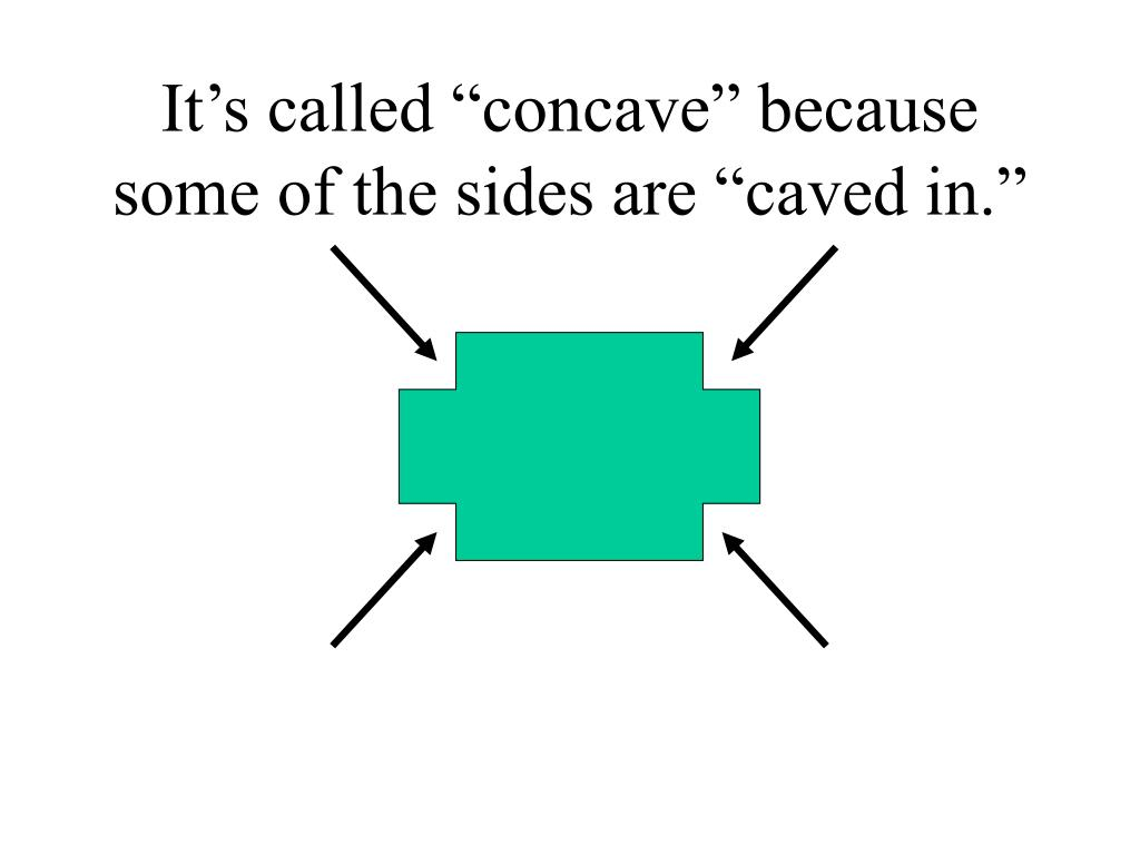 """It's called """"concave"""" because some of the sides are """"caved in."""""""