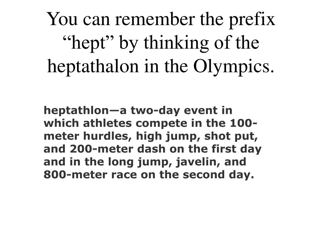 """You can remember the prefix """"hept"""" by thinking of the heptathalon in the Olympics."""