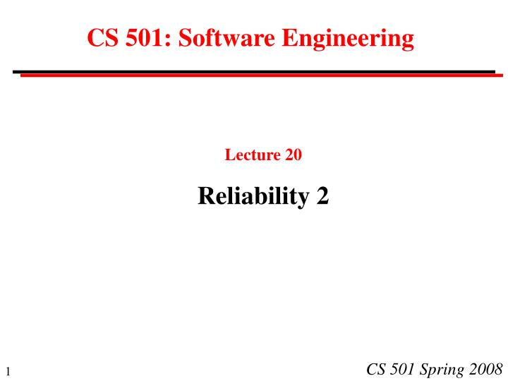 Cs 501 software engineering