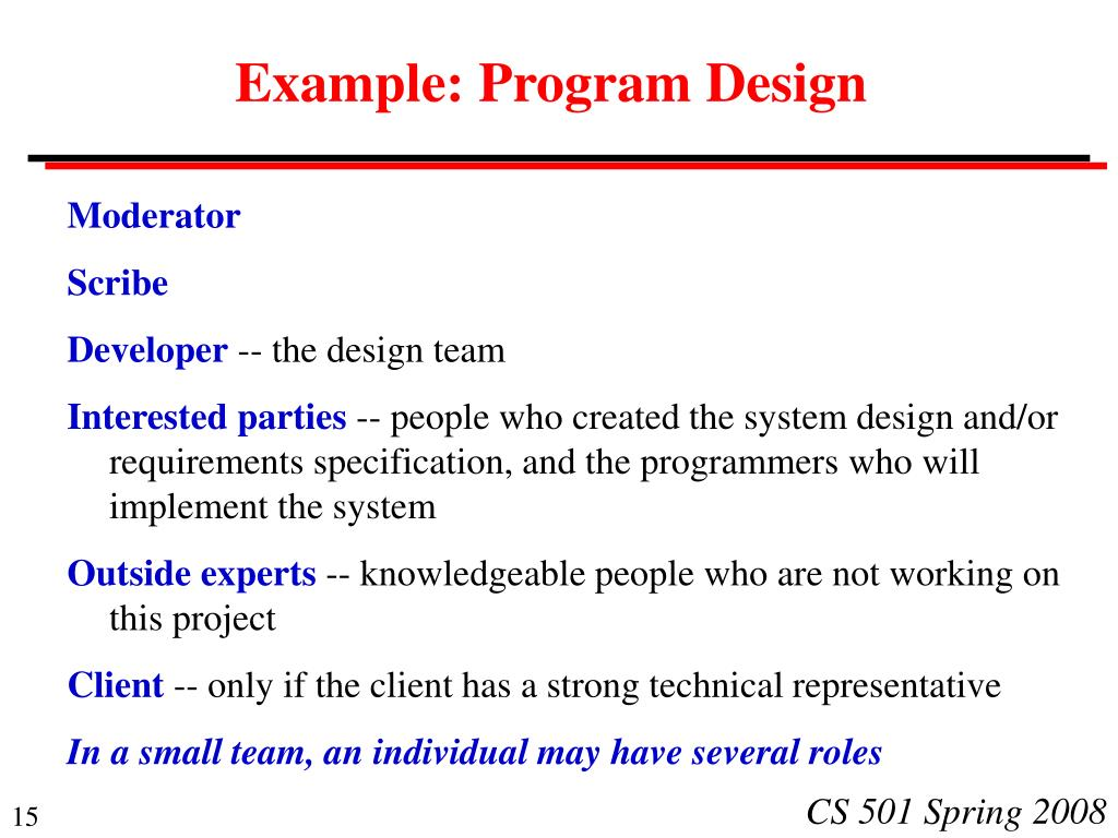 Example: Program Design