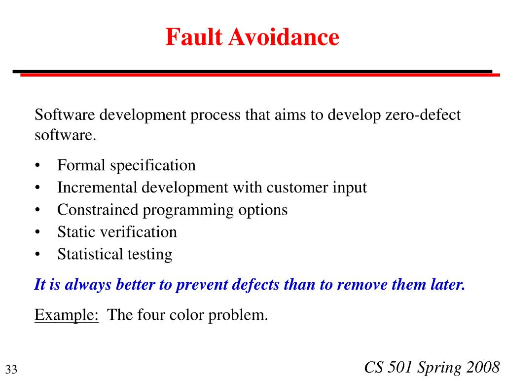 Fault Avoidance
