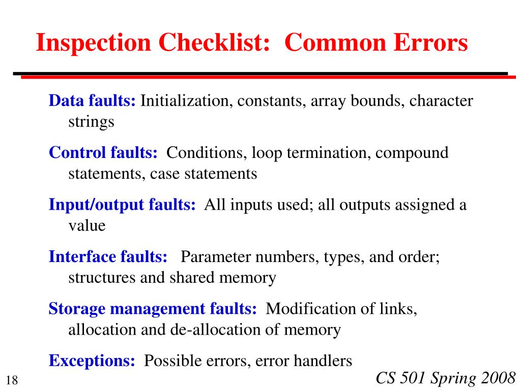 Inspection Checklist:  Common Errors