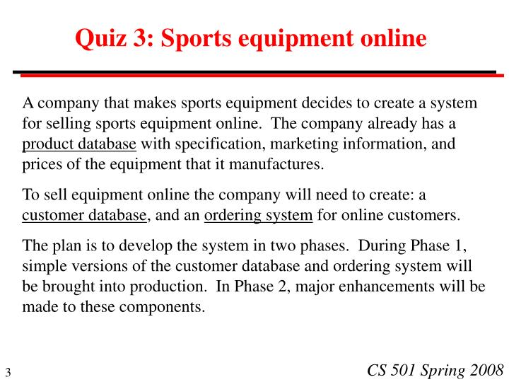 Quiz 3 sports equipment online
