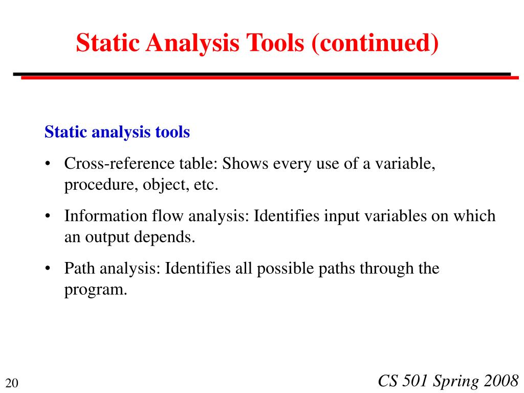 Static Analysis Tools (continued)