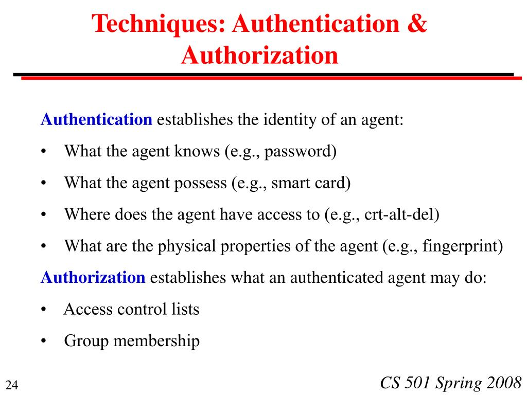 Techniques: Authentication & Authorization