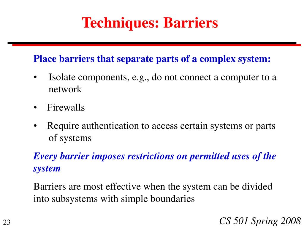 Techniques: Barriers