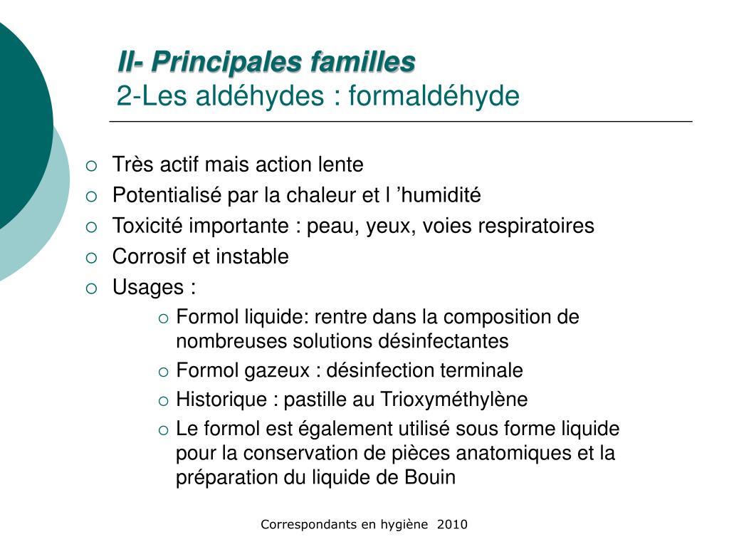 II- Principales familles