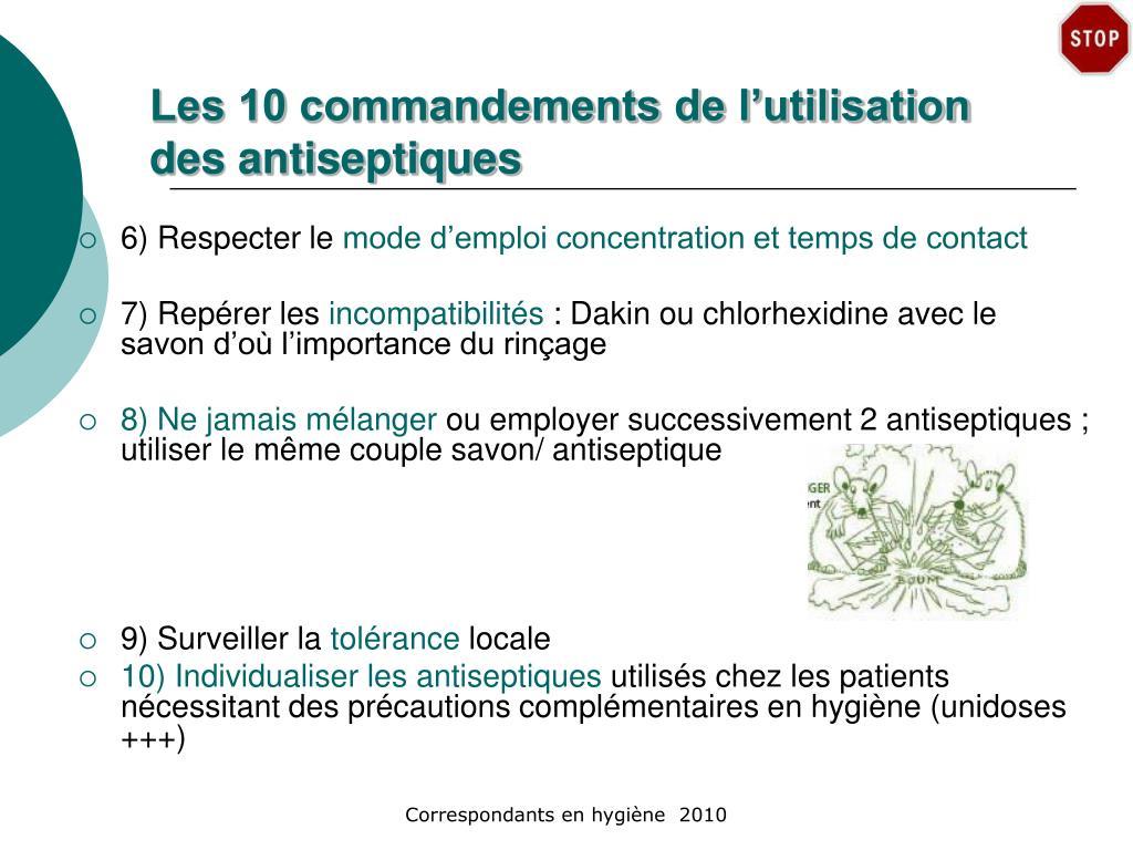 Les 10 commandements de l'utilisation des antiseptiques