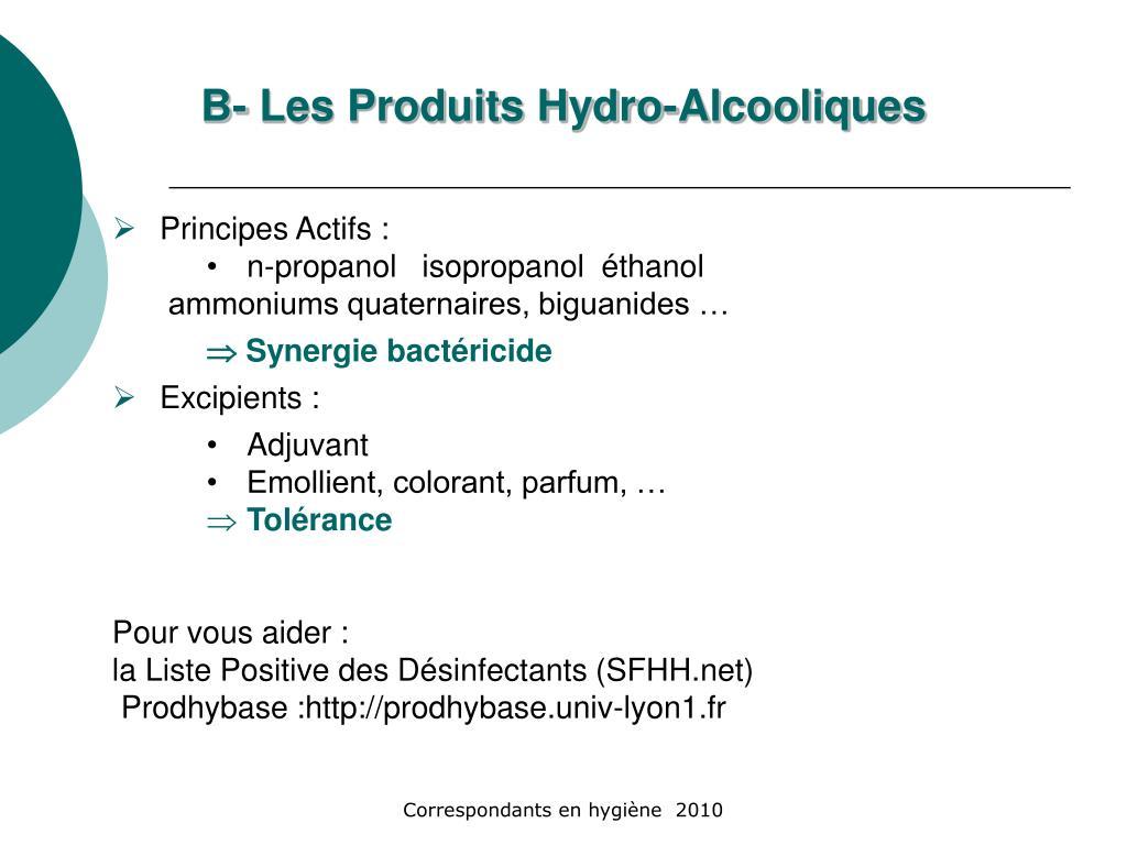 B- Les Produits Hydro-Alcooliques