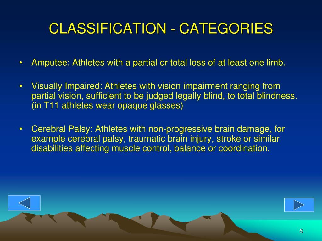 CLASSIFICATION - CATEGORIES