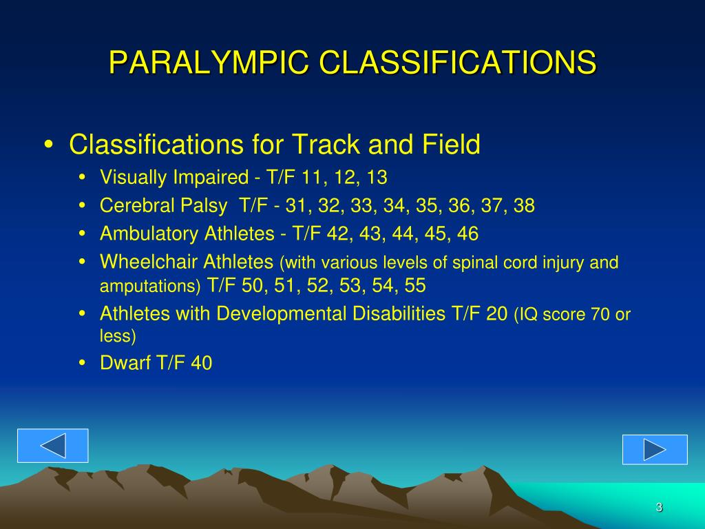 PARALYMPIC CLASSIFICATIONS