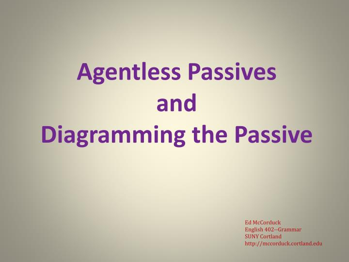 Agentless passives and diagramming the passive l.jpg