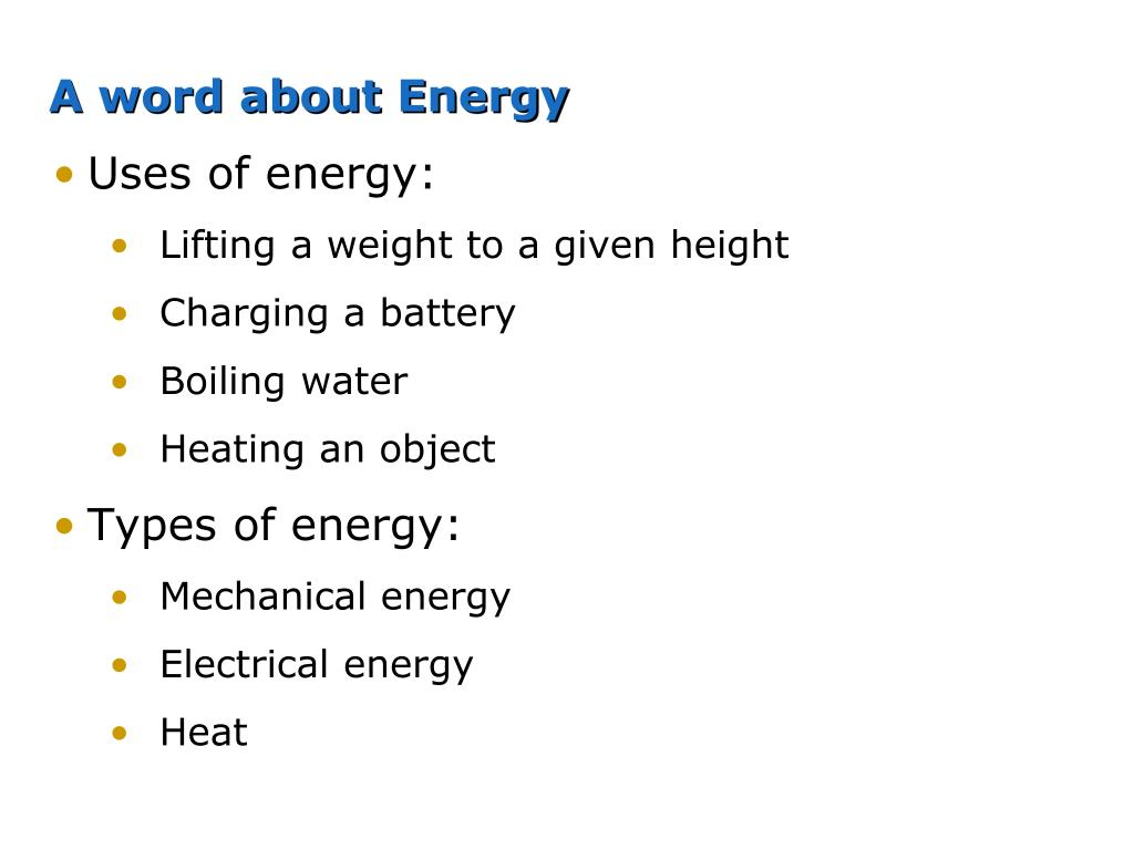 A word about Energy