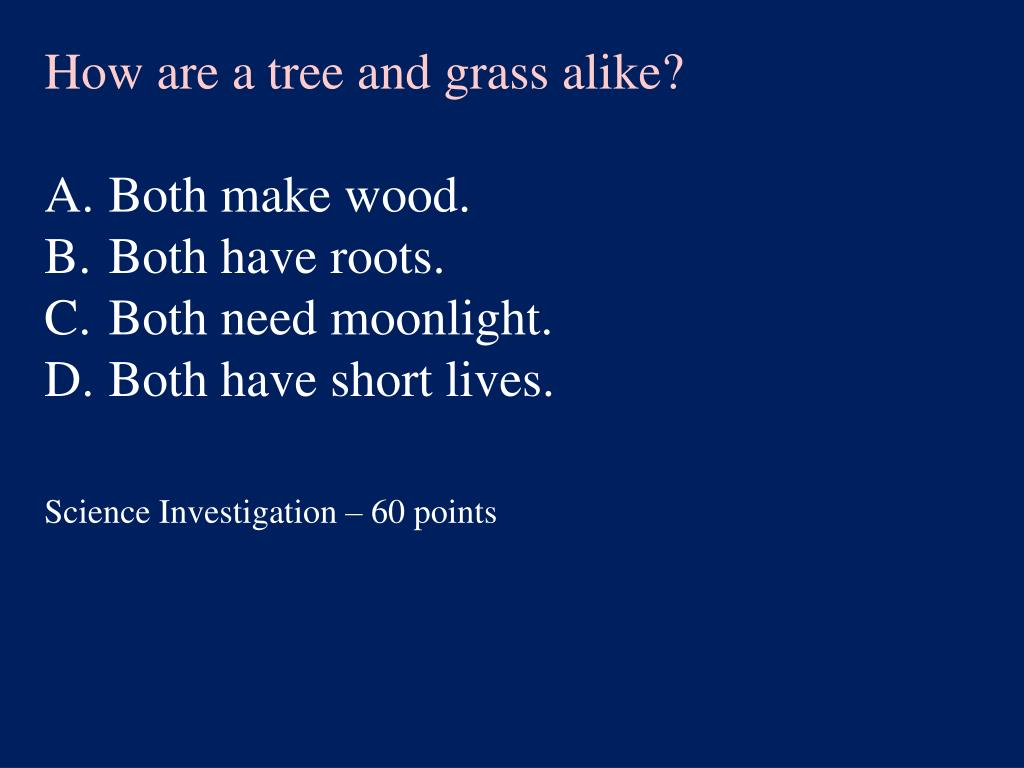 How are a tree and grass alike?