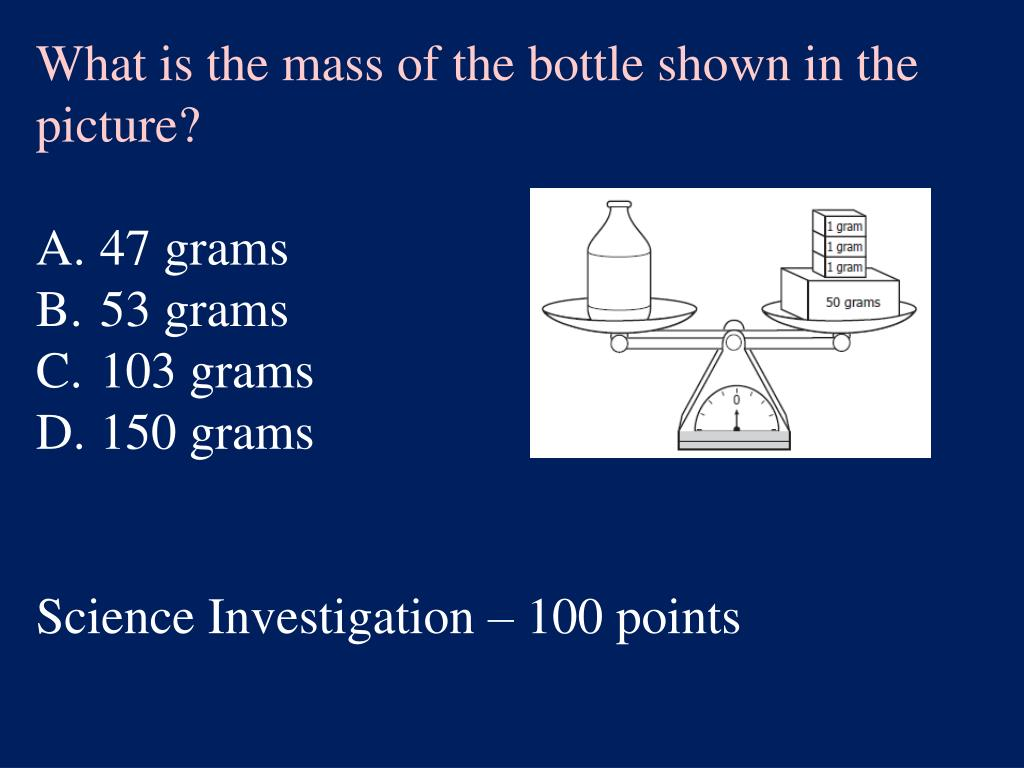 What is the mass of the bottle shown in the picture?