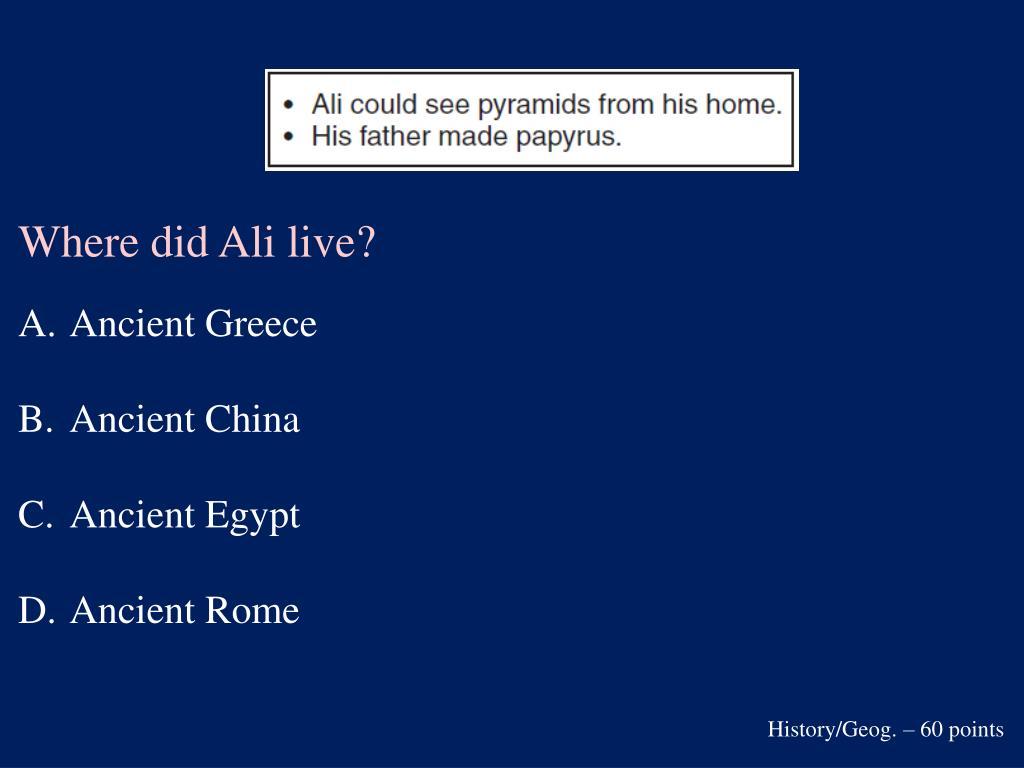 Where did Ali live?