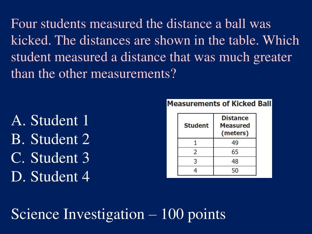 Four students measured the distance a ball was kicked.