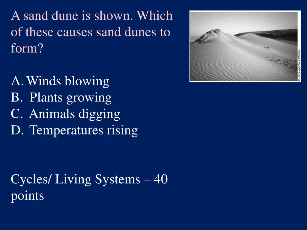 A sand dune is shown. Which of these causes sand dunes to form?