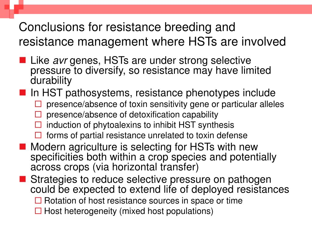 Conclusions for resistance breeding and resistance management where HSTs are involved