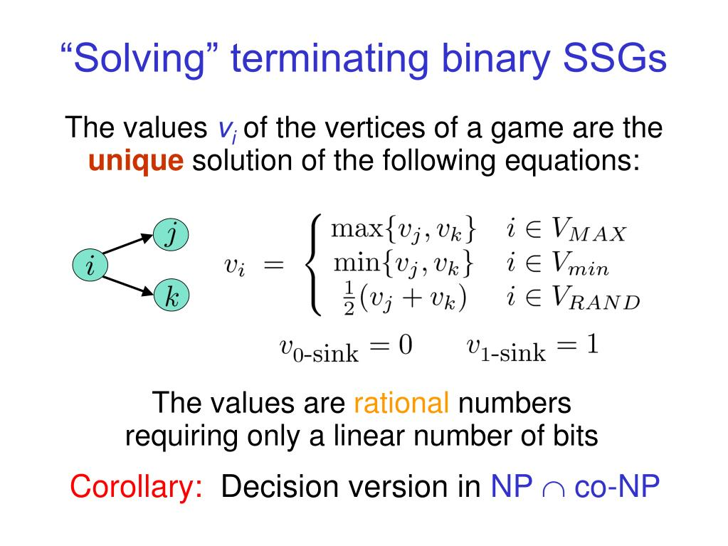 """Solving"" terminating binary SSGs"