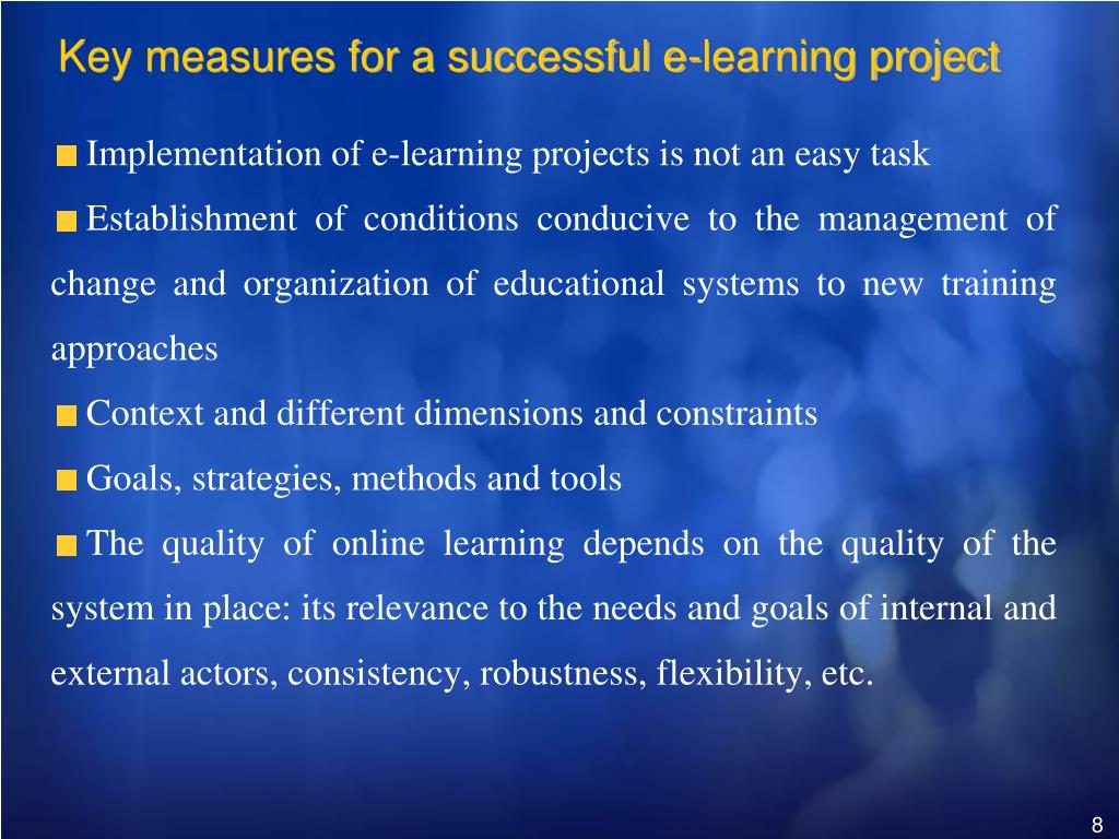 Key measures for a successful e-learning project