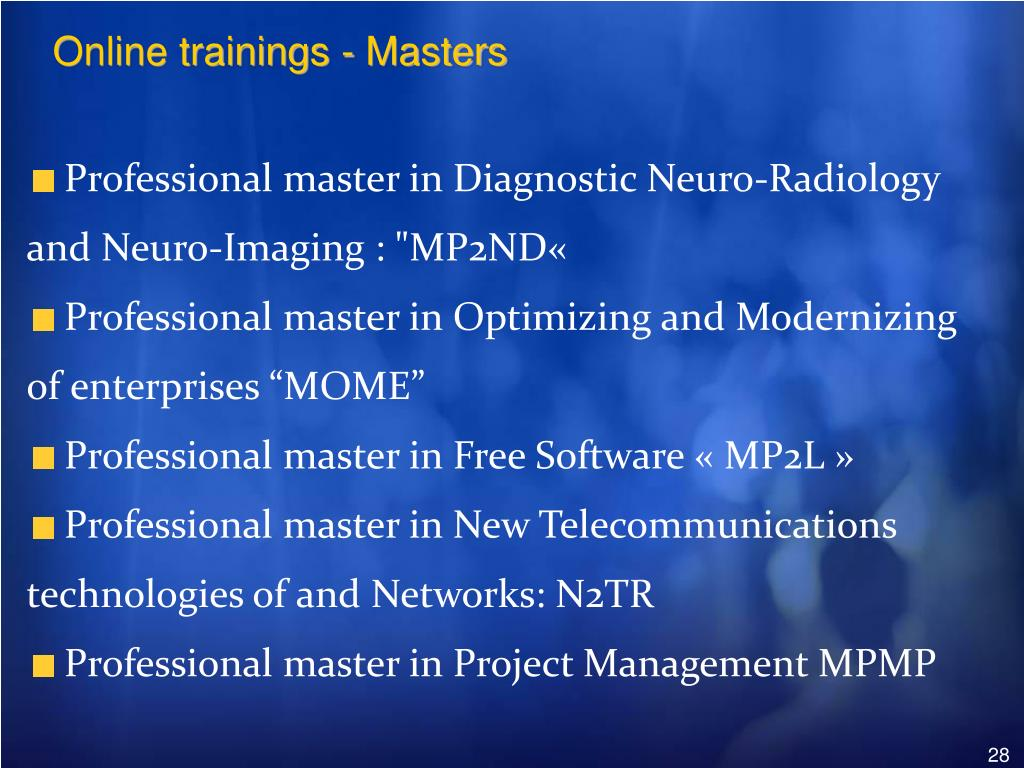 Online trainings - Masters