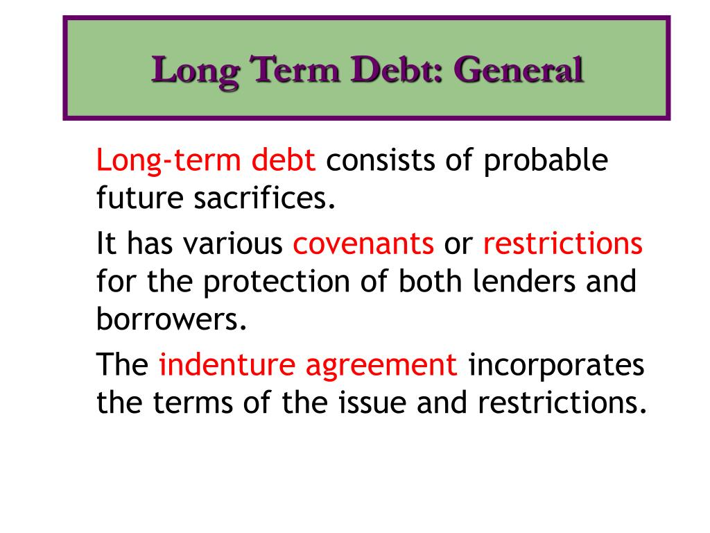 Long Term Debt: General