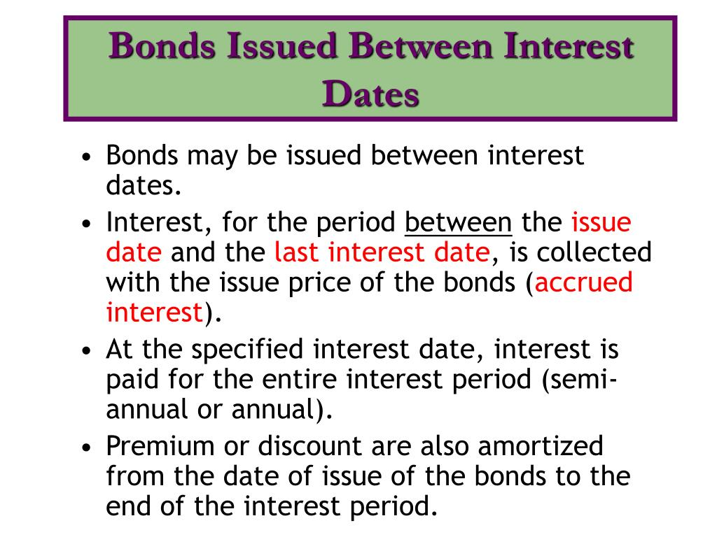 Bonds Issued Between Interest Dates