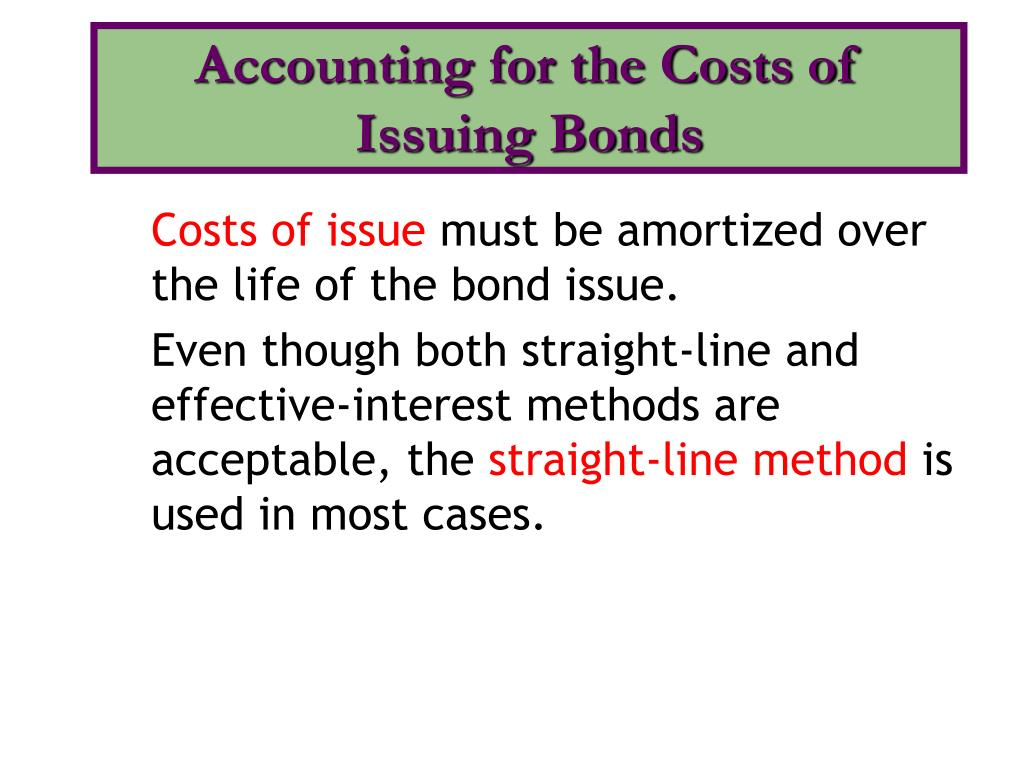Accounting for the Costs of Issuing Bonds