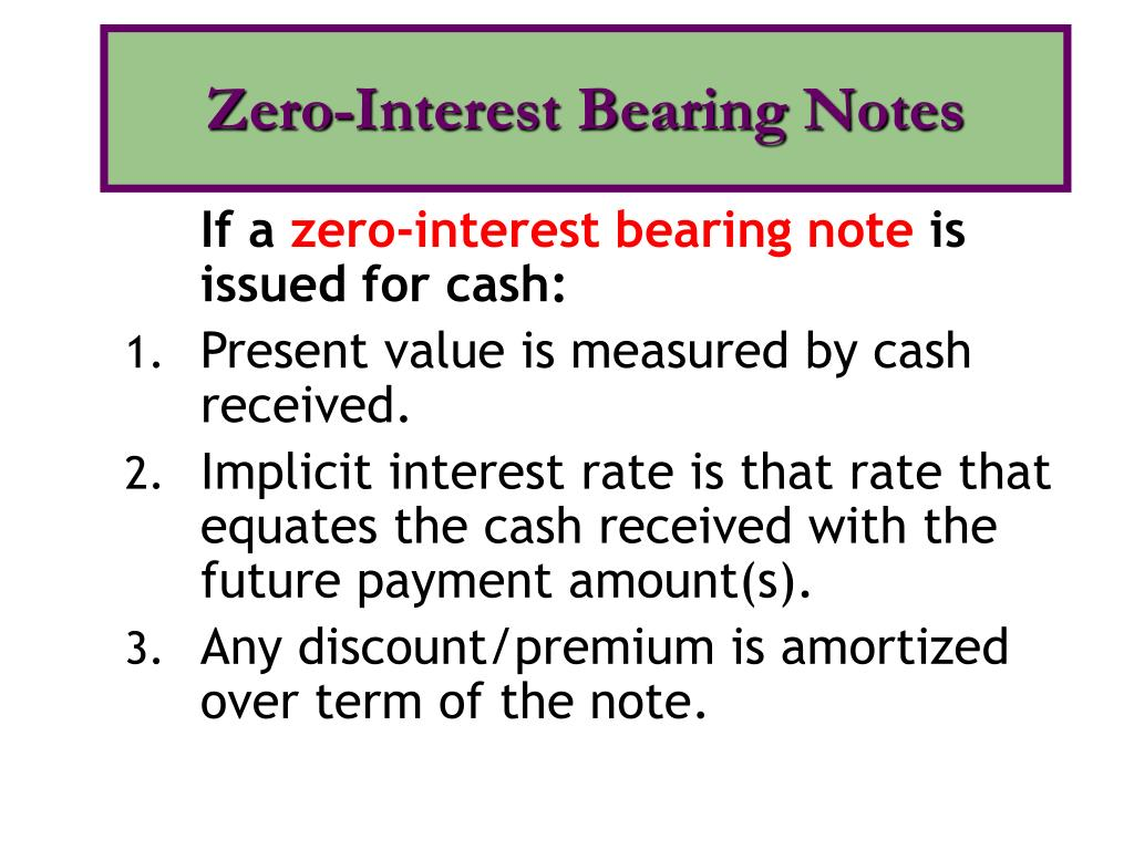Zero-Interest Bearing Notes