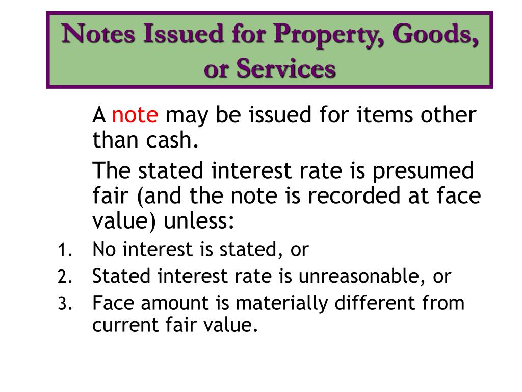 Notes Issued for Property, Goods, or Services