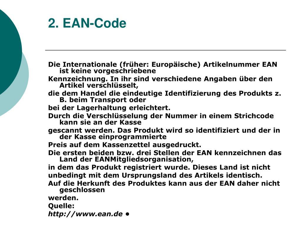 2. EAN-Code