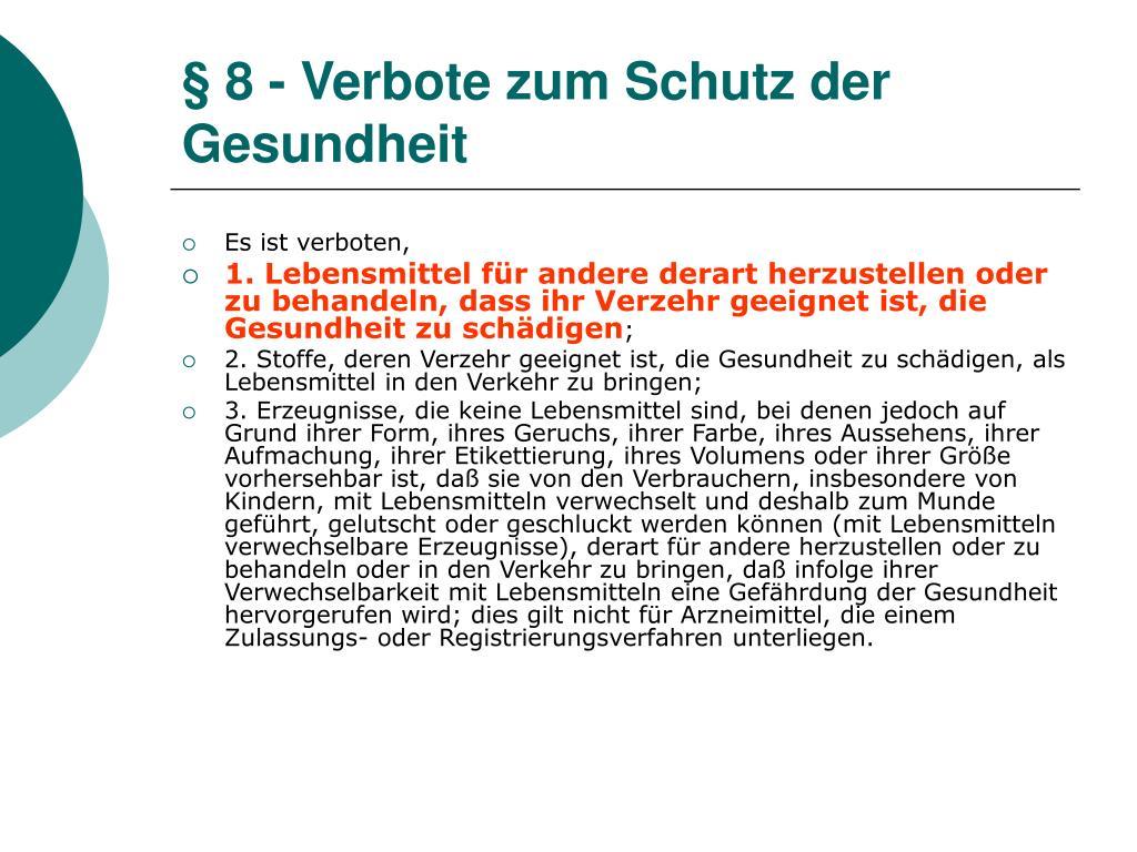 § 8 - Verbote zum Schutz der Gesundheit