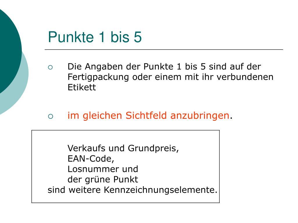 Punkte 1 bis 5